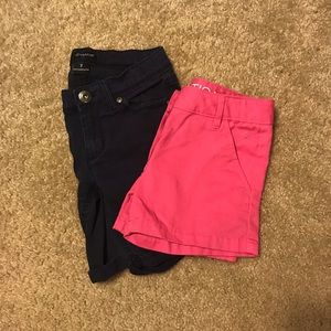 Two pairs of girls shorts. Size 7